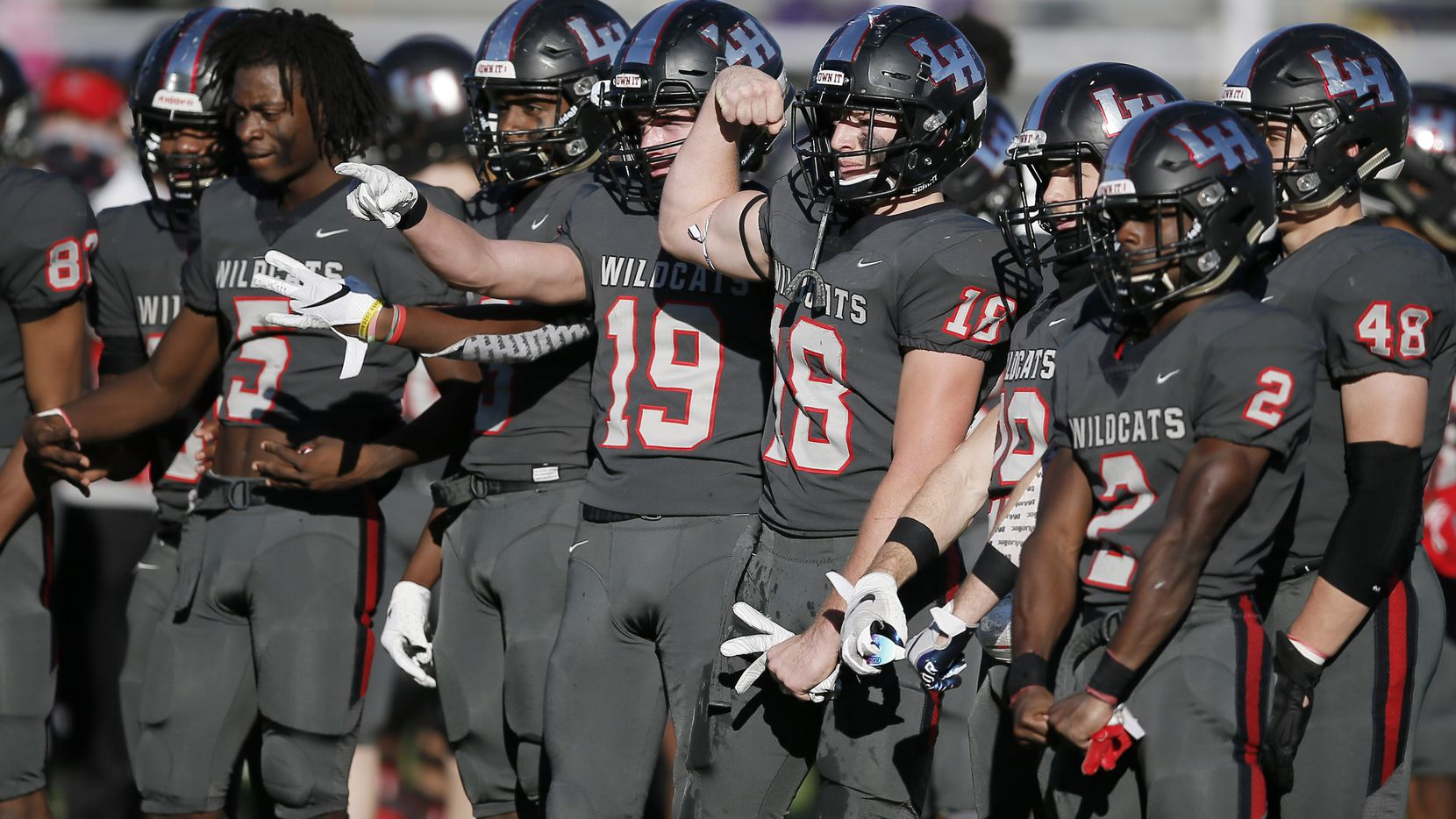 TXHSFB Lake Highlands celebrates a 34-7 win over Richardson after a high school playoff football game at Wildcat-Ram Stadium in Dallas, Wednesday, November 25, 2020. (Brandon Wade/Special Contributor)