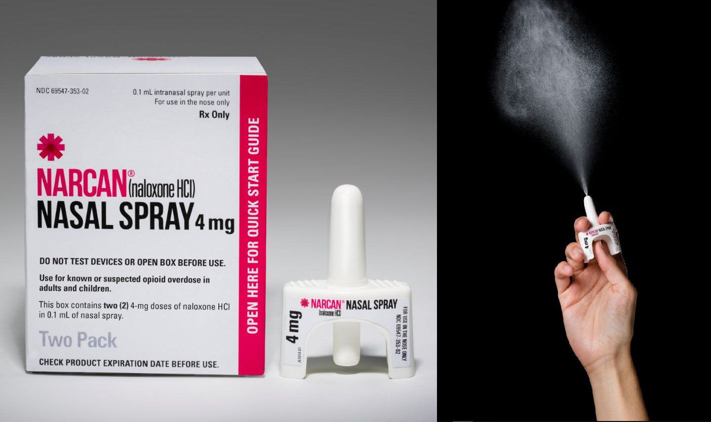 Stock image of FDA-approved Narcan (naloxone) nasal spray, a medication that rapidly reverses the effects of an opioid overdose.
