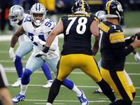 FILE - Cowboys defensive end Randy Gregory (94) rushes against Steelers offensive tackle Alejandro Villanueva (78) during the first quarter of a game on Sunday, Nov. 8, 2020, at AT&T Stadium in Arlington.