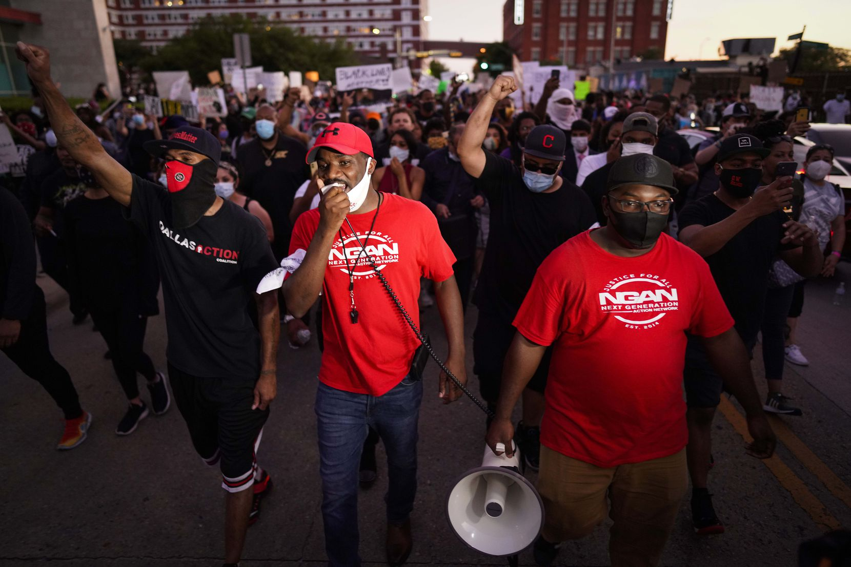 Dominique Alexander, the head of Next Generation Action Network, leads a march against police brutality as the depart a rally at they Dallas Police Headquarters on Friday, May 29, 2020, in Dallas.