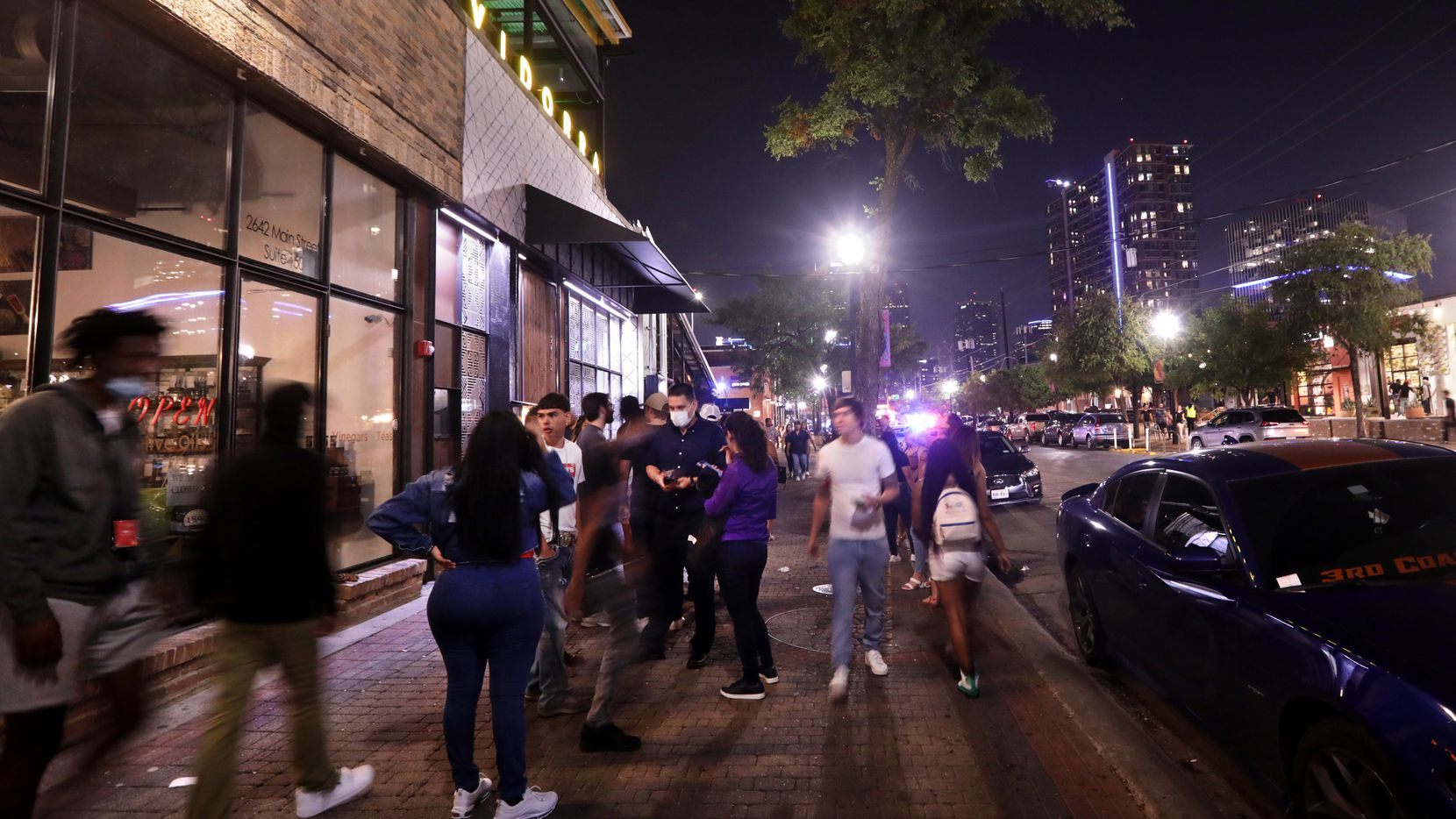 This photo from Aug. 27, 2021, shows people looking for food, drinks, music, and fun in a reenergized Deep Ellum.