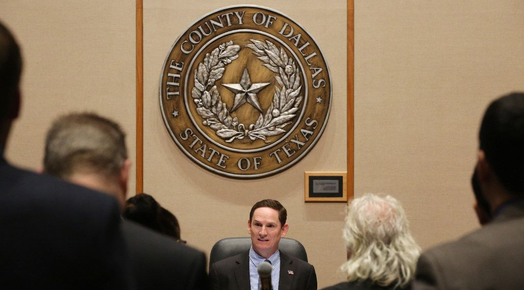 Dallas County Judge Clay Jenkins during a Dallas County Commissioners Court meeting in the Dallas County Administration Building downtown in February.