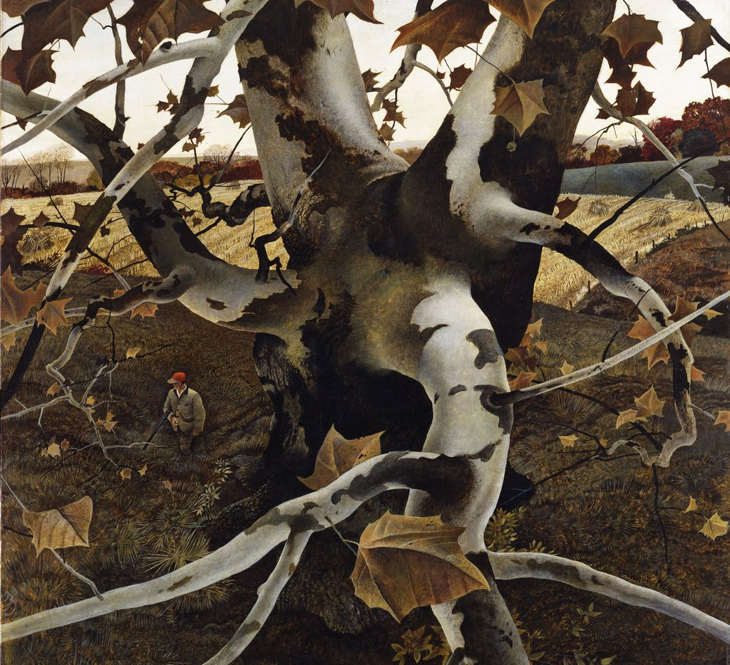 Andrew Newell Wyeth, American, 1917-2009; The Hunter; 1943; tempera on masonite; H: 33 in. (83.8 cm); W: 33 7/8 in. (86 cm)