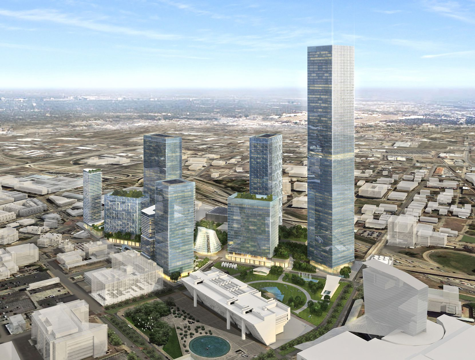 The largest building in the Dallas Smart District would be a 78-story skyscraper that would be the tallest in Dallas.