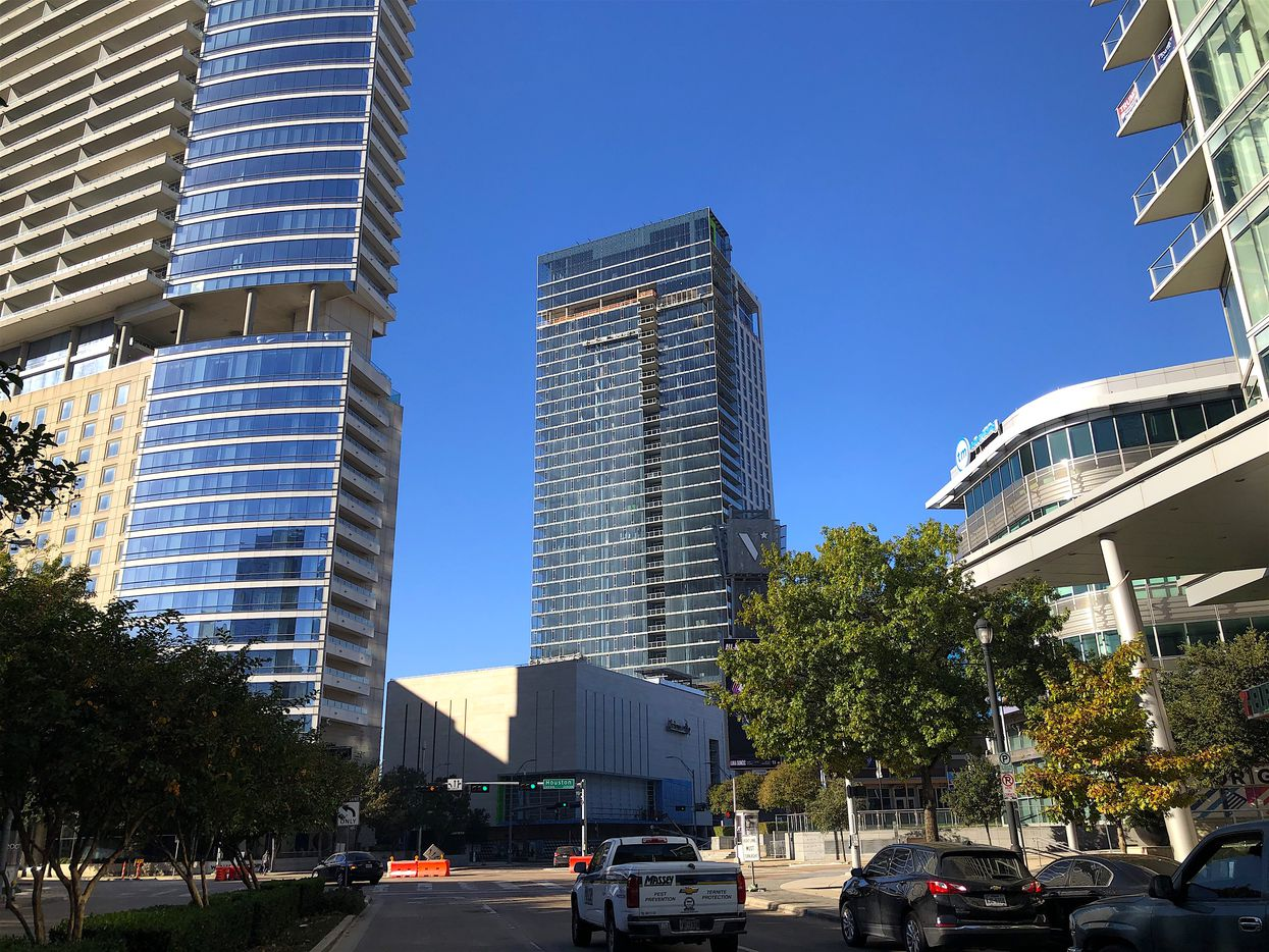 The 40-story Victor apartment high-rise is the tallest building in Victory Park.