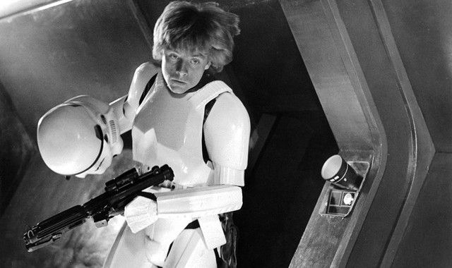 "This is the image we ran with our 1977 review of ""Star Wars,"" with this caption: Luke Skywalker, played by Mark Hamill, prepares to counterattack the Imperial Stormtroopers in ""Star Wars,"" opening Friday at Cinema II in NorthPark."