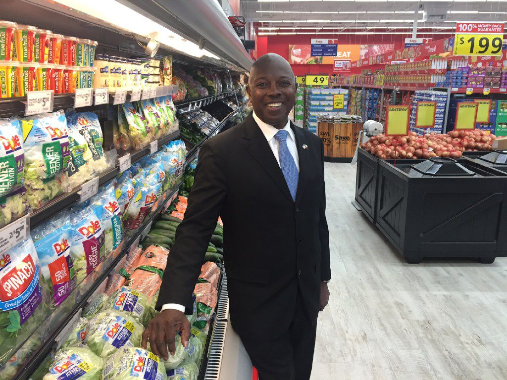 Former Dallas City Council member Tennell Atkins stands in the new Save-A-Lot grocery store at 3450 Simpson Stuart Road. Atkins is trying to win back his seat after he had to step aside due to term limits. (Tristan Hallman/Staff)