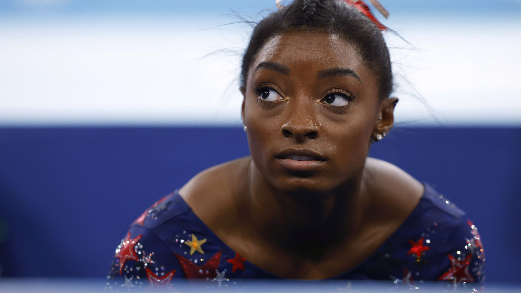 USA's Simone Biles after competing on the balance beam in a women's gymnastics event during the postponed 2020 Tokyo Olympics at Ariake Gymnastics Centre on Sunday, July 25, 2021, in Tokyo, Japan.