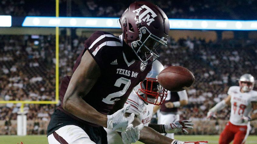 Texas A&M Aggies wide receiver Jhamon Ausbon (2) can't pull in a touchdown pass as he's covered by a Nicholls State Colonels defender in the fourth quarter at Kyle Field in College Station, Texas, Saturday, September 9, 2017. The Aggies defeated the Colonels, 24-14.