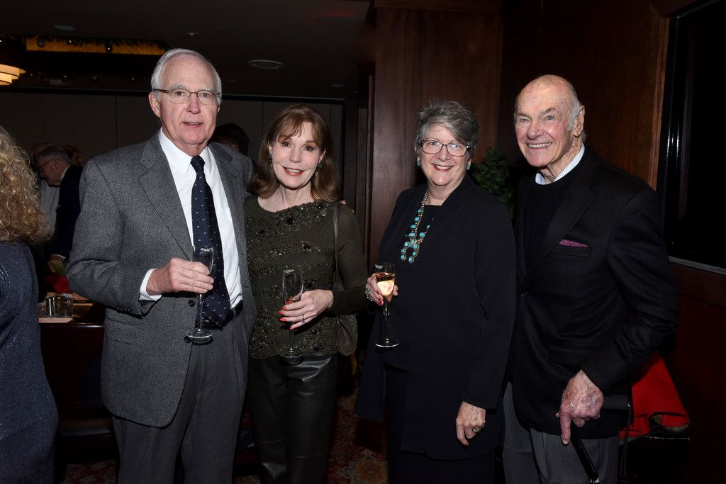 Retired Austin Industries CEO Bill Solomon and his philanthropic wife, Gay, with Texas Tree Foundation CEO Janette Monear and Stan Levenson at his 85th birthday party on Dec. 28.