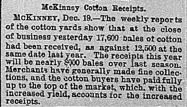 Dallas Morning News clipping from Dec. 20, 1886.