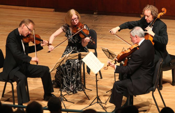 The American String Quartet performs as part of the Dallas Chamber Music Society series at Caruth Auditorium, on the Southern Methodist University campus, Oct. 21, 2013.