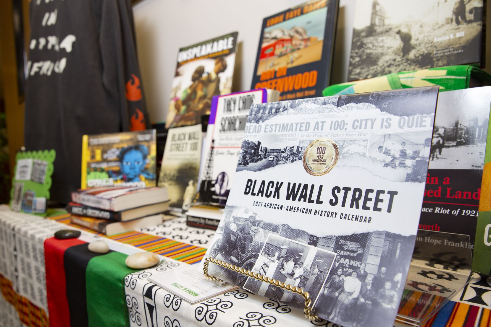 Books about the Tulsa Massacre on Friday, June 4, 2021, at the MLK, Jr Community Center in Dallas. (Juan Figueroa/The Dallas Morning News)