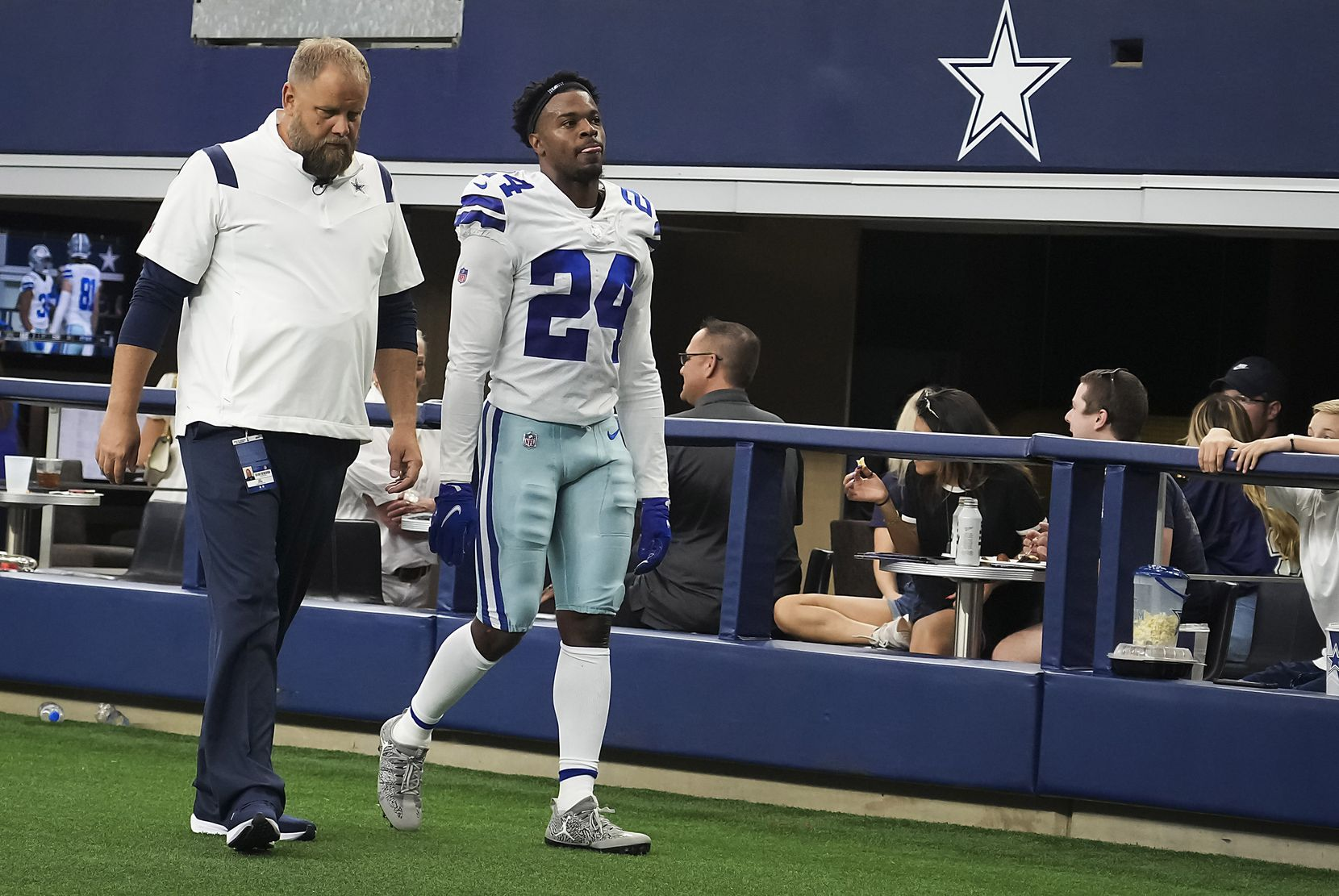 Dallas Cowboys cornerback Kelvin Joseph (24) leaves the field after being injured during the first half of a preseason NFL football game against the Jacksonville Jaguars at AT&T Stadium on Sunday, Aug. 29, 2021, in Arlington. (Smiley N. Pool/The Dallas Morning News)