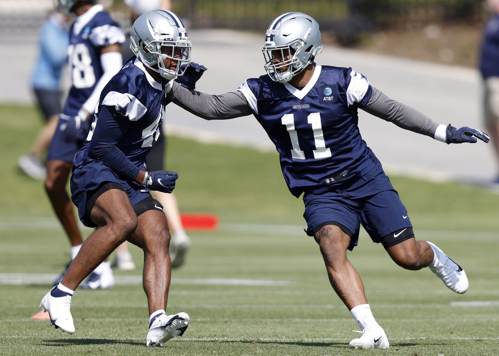 Dallas Cowboys rookie linebackers Micah Parsons (11) covers Jabril Cox (48) during individual drills at rookie minicamp at  The Star in Frisco, Texas, Saturday, May 15, 2021. (Tom Fox/The Dallas Morning News)