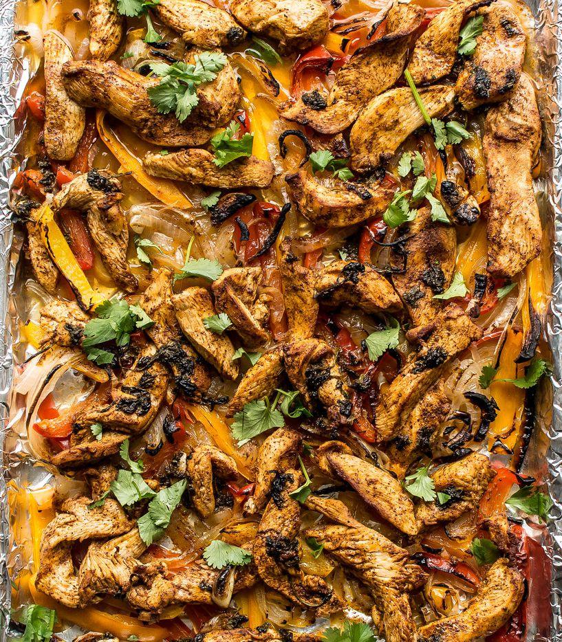 """Hot"" Chicken Sheet Pan Fajitas are marinated in hot sauce, cilantro and orange juice."