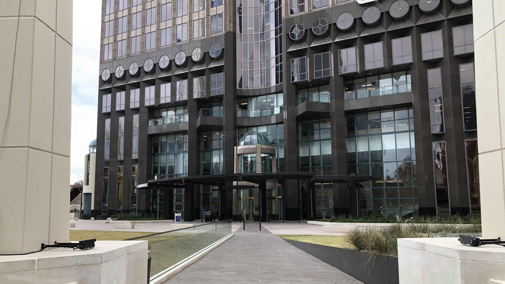 Owners of Chase Tower just completed a redo of the entry and plaza out front.