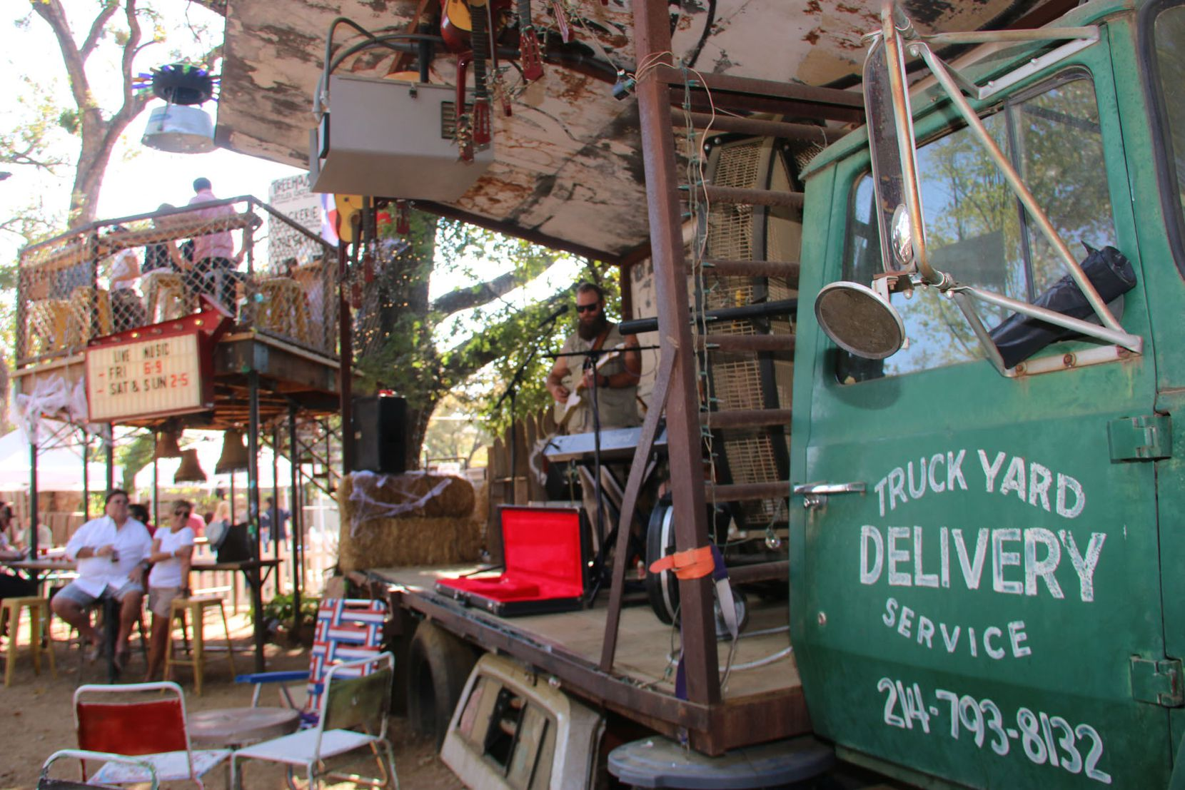 The Truck Yard in Dallas has mis-matched chairs and picnic tables strewn about its backyard. Keeping with the theme, Truck Yard in Fort Worth is expected to have indoor and outdoor stages made out of 1950s flatbed trucks.