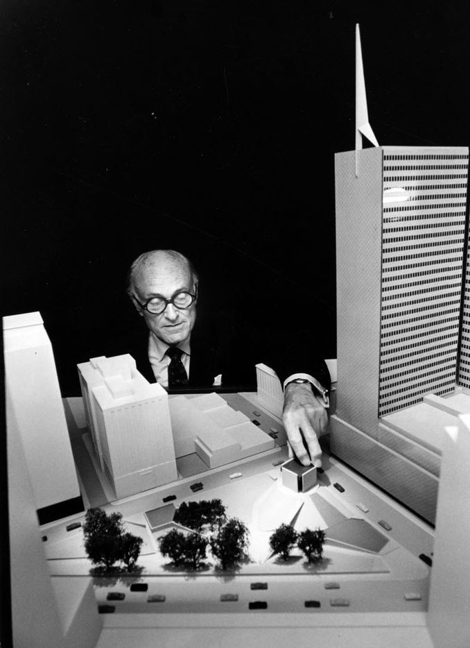 Philip Johnson shows a scale mode of Thanks-Giving Square in 1971.