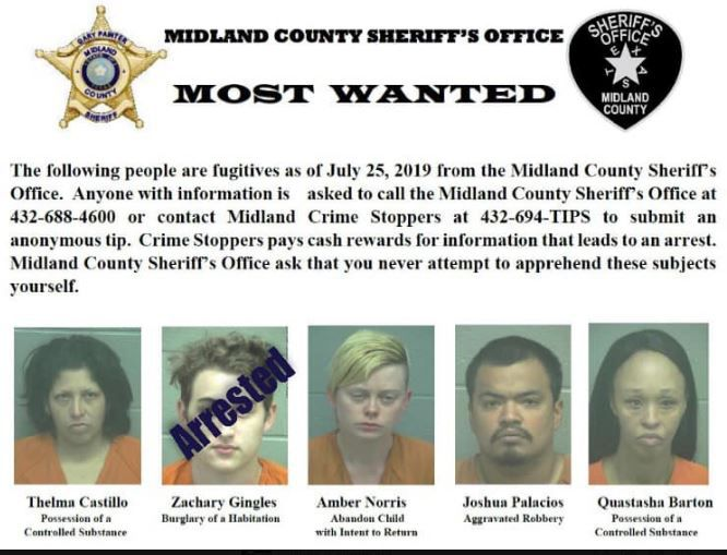 Midland County's five most-wanted fugitives.