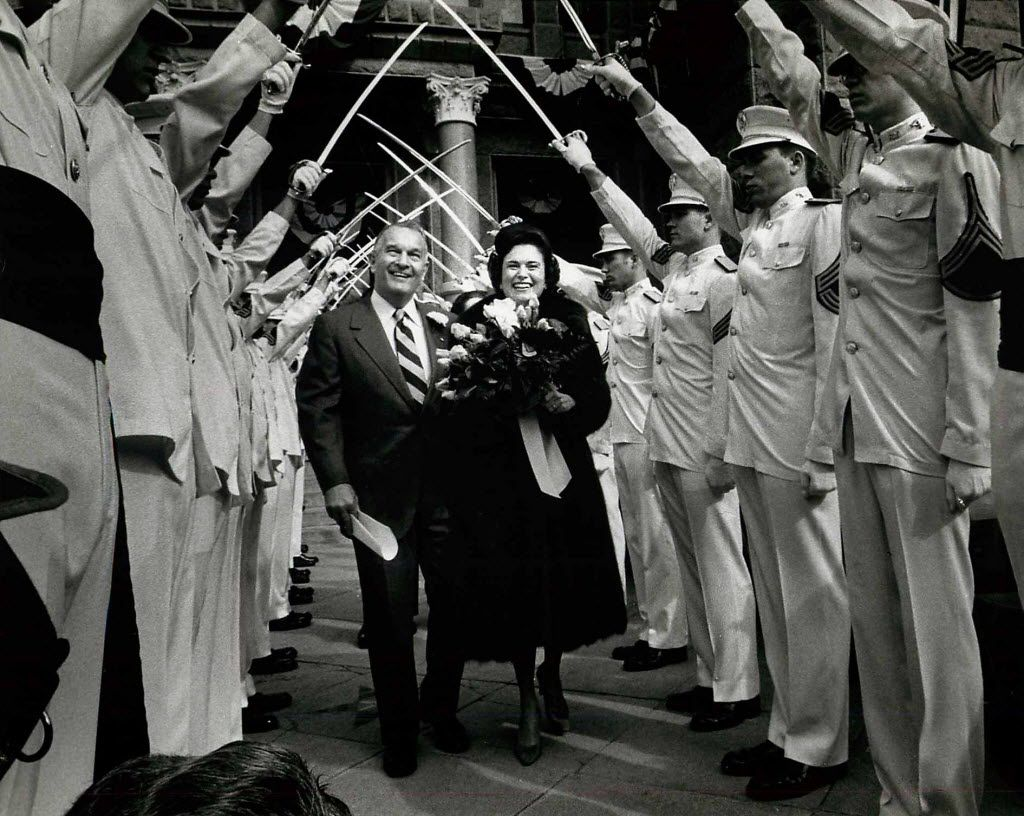 Bill and Rita Clements walked through saber arch in January 1979 before his  first inauguration as Texas governor.