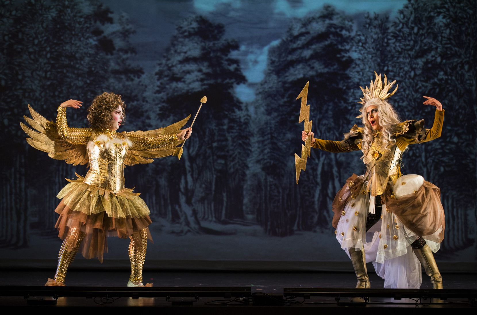 Julianna Emanski (left) performs as Amor and Carla Lopez Speziale performs as Jupiter during a dress rehearsal of Orchestra of New Spain's production of Sebastian Durón's 'Love Conquers Impossible Love' on Feb. 19, 2020 at Moody Performance Hall in Dallas.