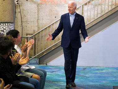 Democratic presidential candidate Joe Biden is introduced before speaking to participants in the Dallas Mayor's Intern Fellows Program during a campaign event at SPARK! on Wednesday, May 29, 2019, in Dallas.