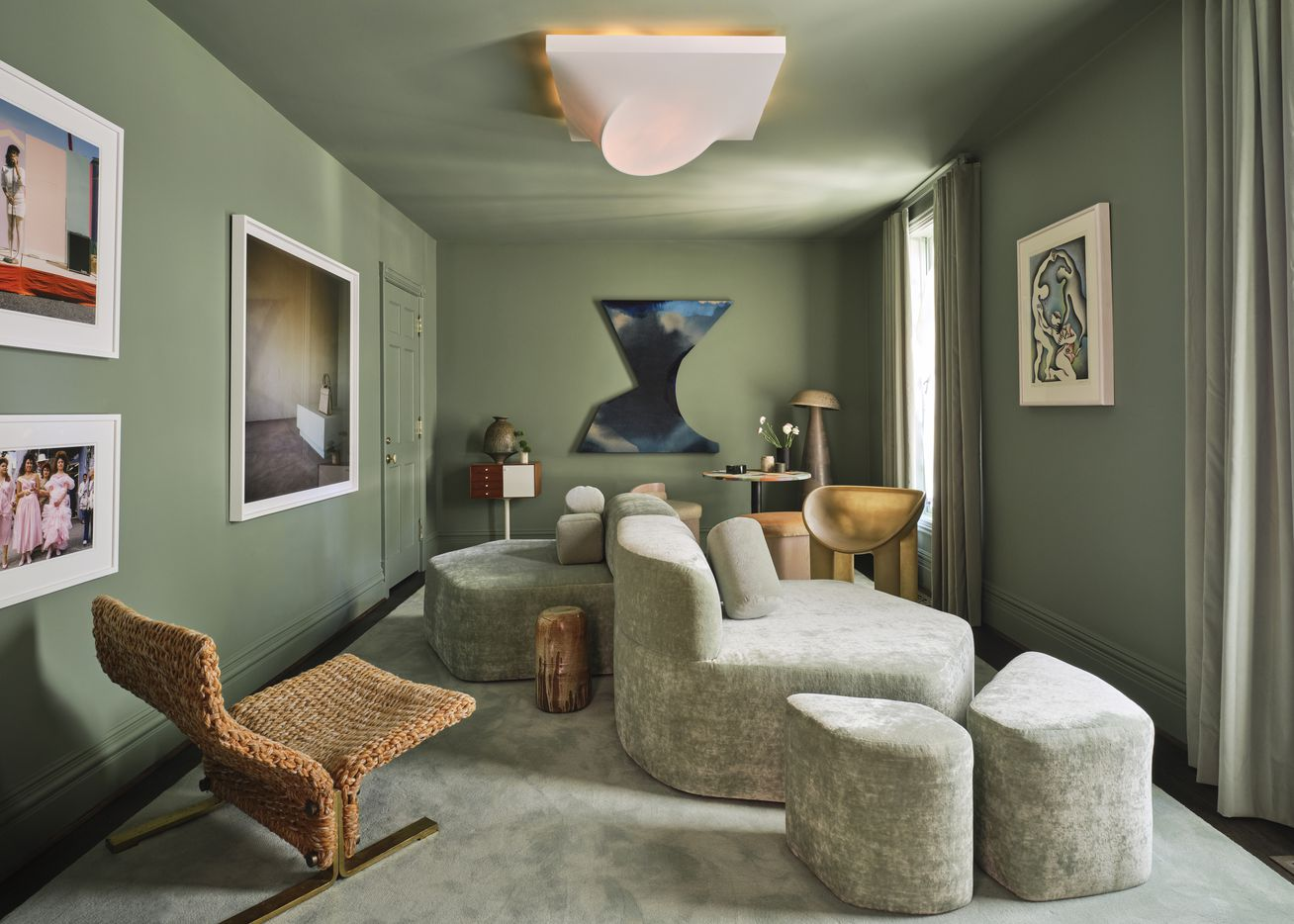 Studio Michael Hilal designed one of the downstairs studies for the 2021 Kips Bay Decorator Show House Dallas. The design was inspired by the late 70s and early 80s U.S. Southwest, according to a press release, and has natural wood tones, celadon tones and earthy ceramics.