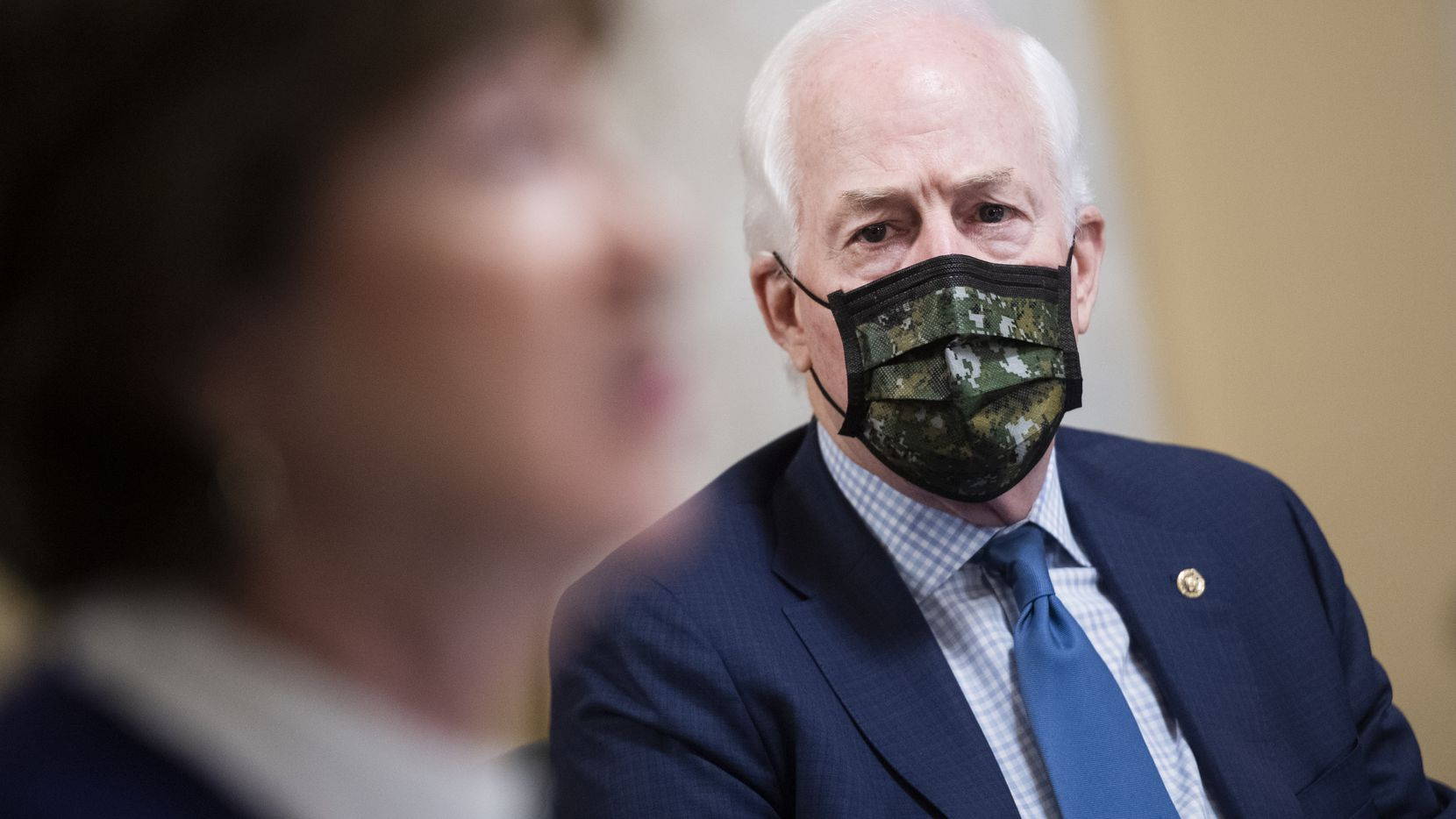Sen. John Cornyn listens during a Senate Rules Committee meeting on his National Museum of the American Latino Act and other bills on Nov. 17, 2020.