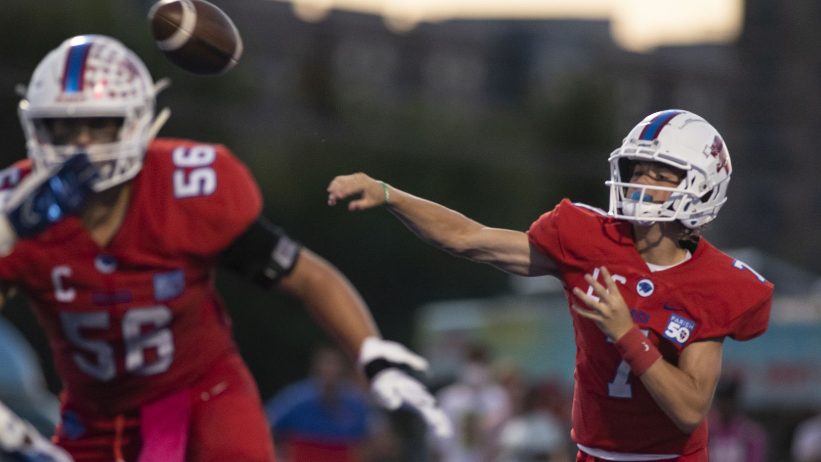 Parish Episcopal freshman Sawyer Anderson (7) throws a pass down the field during Parish EpiscopalÕs home game against Argyle Liberty Christian at Gloria Snyder Stadium on Friday, September 17, 2021 in Dallas, Texas.