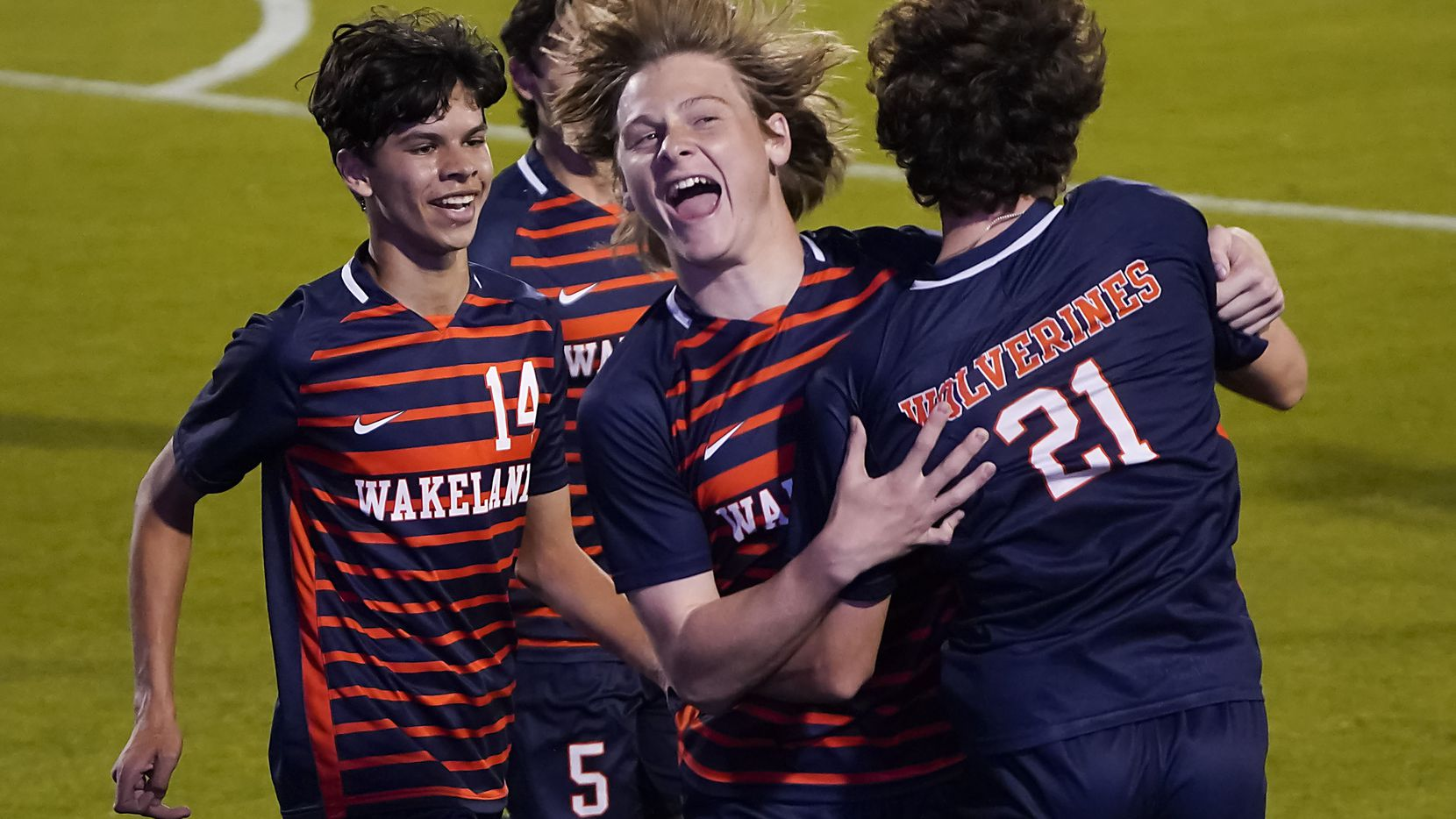 Frisco Wakeland's Jimmy Suerth (21) celebrates with Peyton Atchley (15) after scoring a goal during the first half of a victory over Adamson in a Class 5A boys soccer area-round playoff game at Toyota Stadium on Tuesday, March 30, 2021, in Frisco.