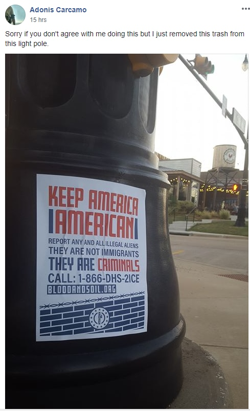 Lewisville resident Adonis Carcamo posted photos on Facebook of neo-Nazi fliers that have been seen around Lewisville.