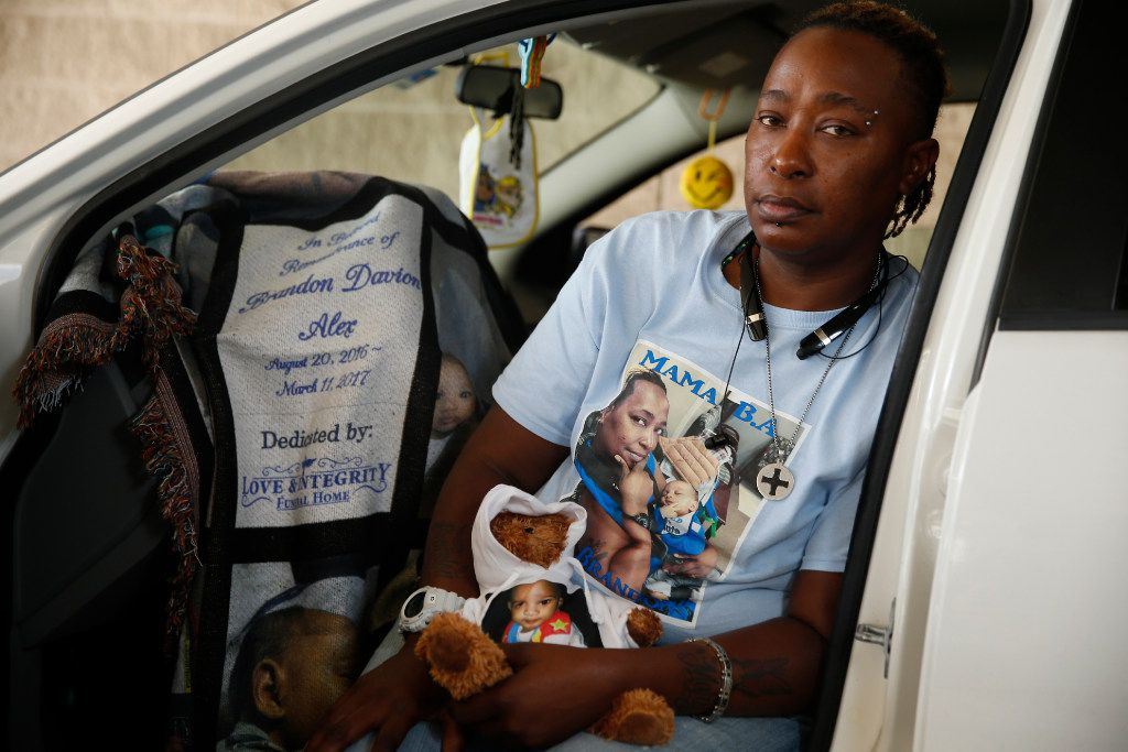 Bridget Alex says that after her son died, she started living in her car. She keeps a teddy bear, blanket and other items to remember him by.