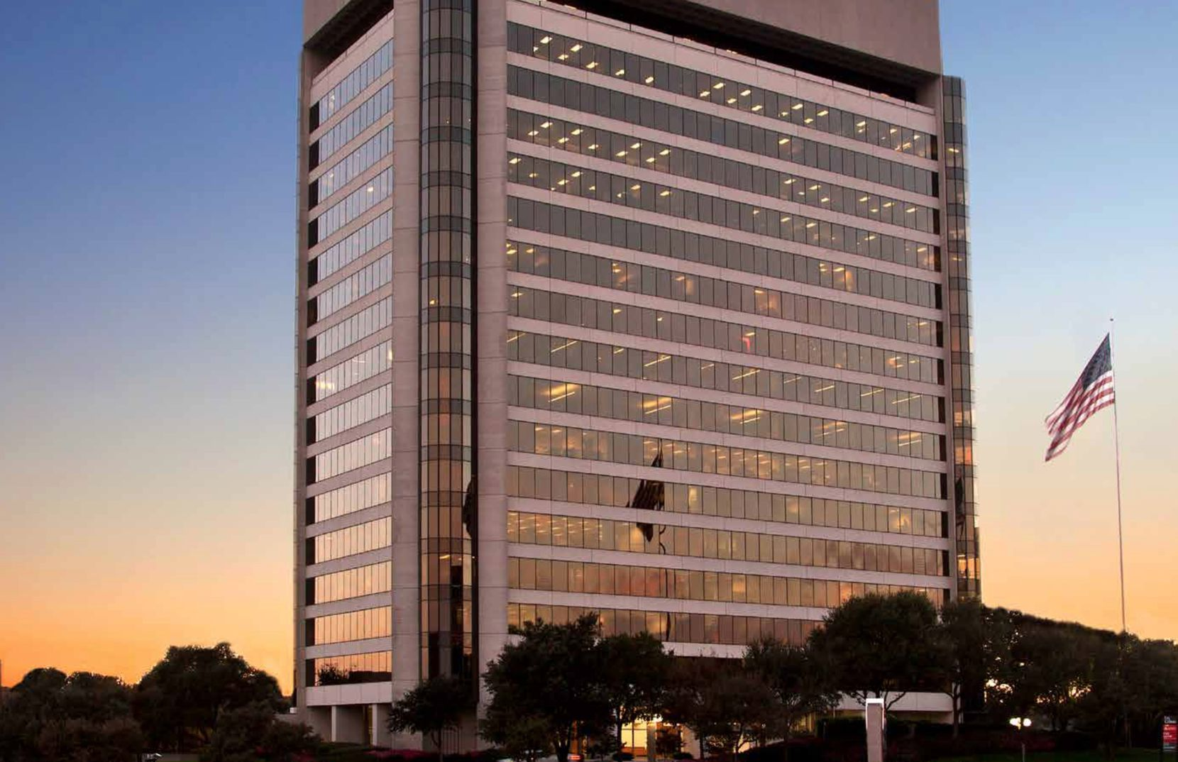 The Point at Las Colinas office tower is on S.H. 114.
