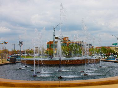 The Park Village fountain is seen here in earlier, happier times.