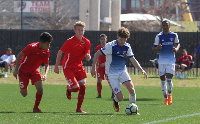 Chris Cappis on the ball playing for the FC Dallas Academy U19s.