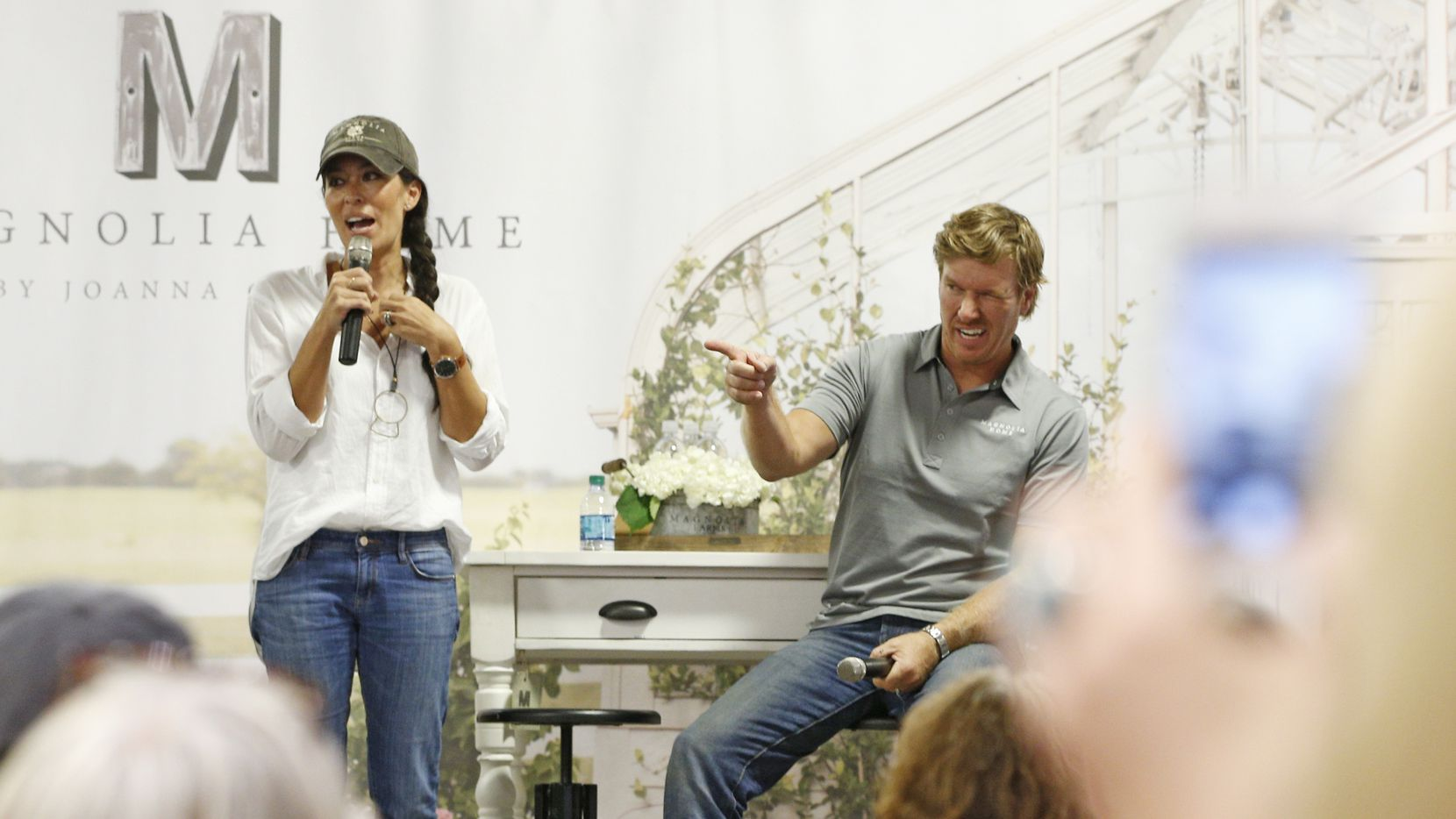HGTV stars from Waco, Texas, Chip and Joanna Gaines talk to the audience during an appearance at  Nebraska Furniture Mart Texas in The Colony, Texas Aug. 30, 2016.  (Nathan Hunsinger/The Dallas Morning News)
