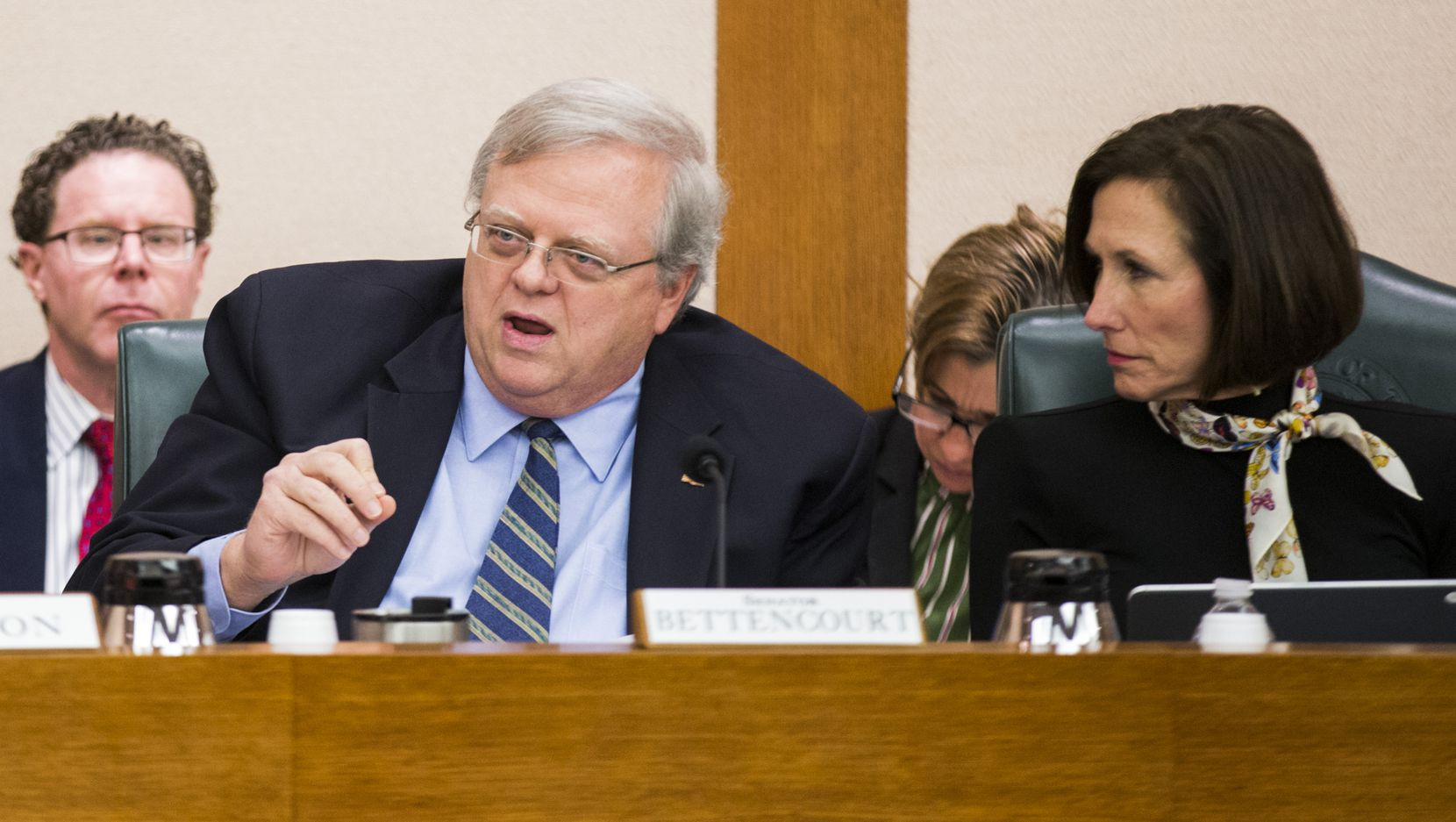Sen. Paul Bettencourt, shown at a February committee hearing, declined to respond directly this week to questions about recent tensions with his longtime ally Lt. Gov. Dan Patrick.