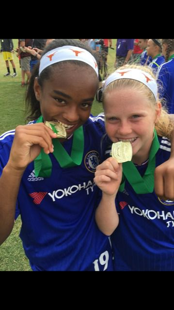 """Trinity Byars (left) and Alexis """"Lexi"""" Missimo celebrate winning a national championship with the Solar Soccer Club in 2016."""