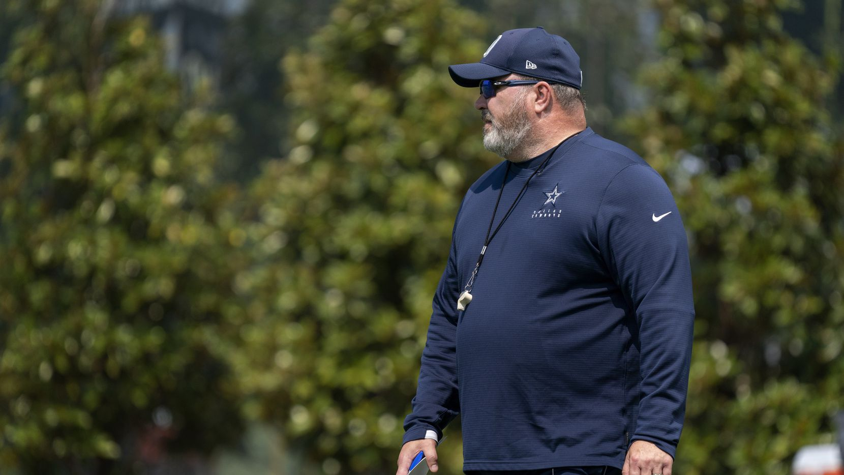 Dallas Cowboys head coach Mike McCarthy watches his team during a preseason practice, Thursday, September 2, 2021 at The Star in Frisco in Dallas, Texas. (Jeffrey McWhorter/Special Contributor)