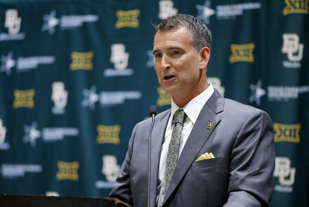 New Baylor Athletic Director Mack Rhoades answers questions during the Big 12 Conference Football Media Days at the Omni Dallas, July 16, 2016.