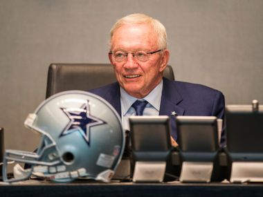 FILE - Cowboys owner Jerry Jones looks at the video board in the war room during Round 1 of the 2017 NFL draft on Thursday, April 27, 2017, at The Star in Frisco.