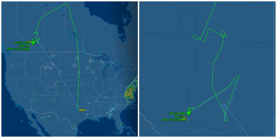 Trackers show the flight diverting to Calgary.