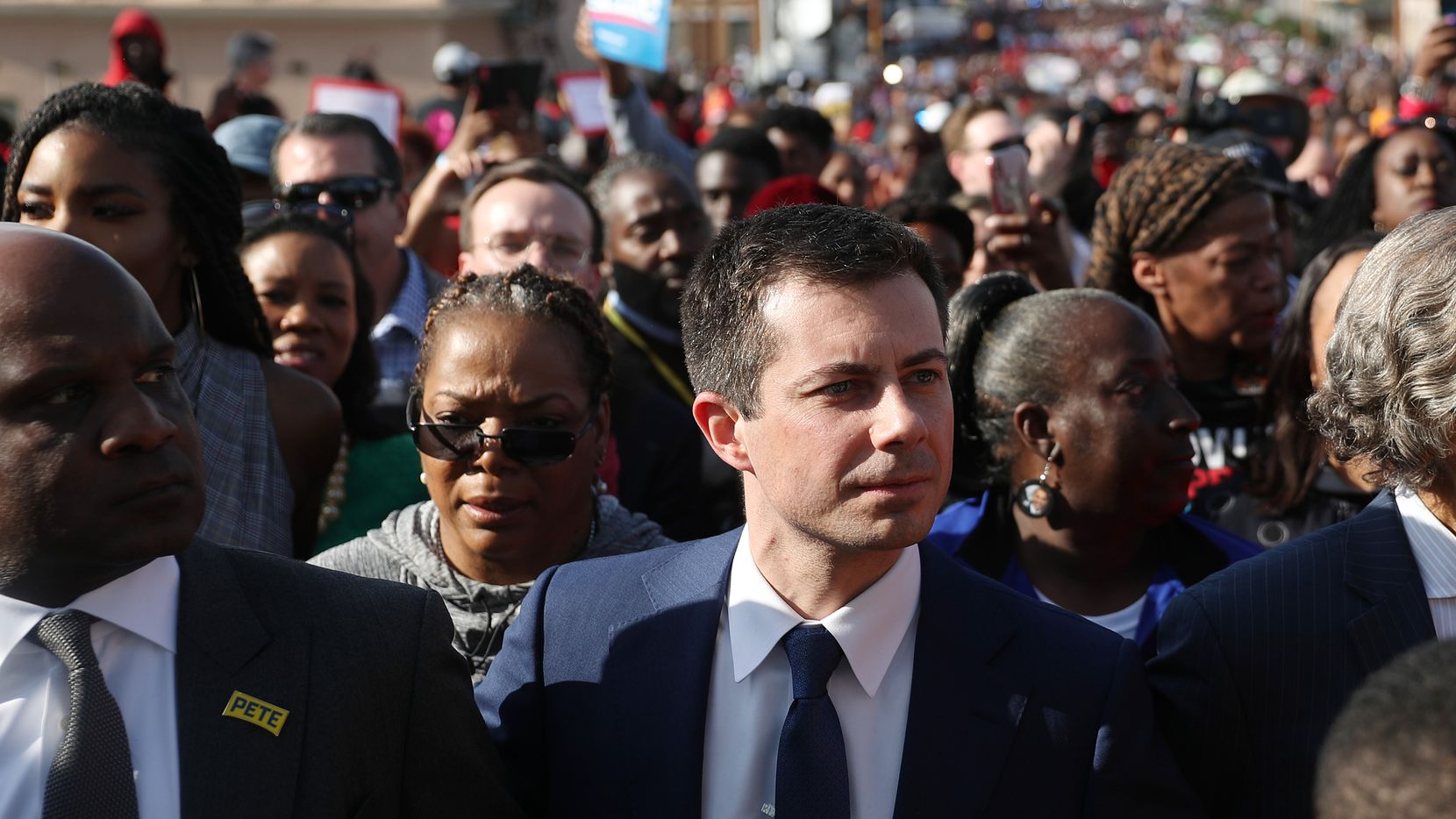 SELMA, ALABAMA - MARCH 01:  Democratic presidential candidate former South Bend, Indiana Mayor Pete Buttigieg participates in the Edmund Pettus Bridge crossing reenactment marking the 55th anniversary of Selma's Bloody Sunday on March 1, 2020 in Selma, Alabama. Some of the 2020 Democratic presidential candidates attended the Selma bridge crossing jubilee ahead of Super Tuesday. (Photo by Joe Raedle/Getty Images)