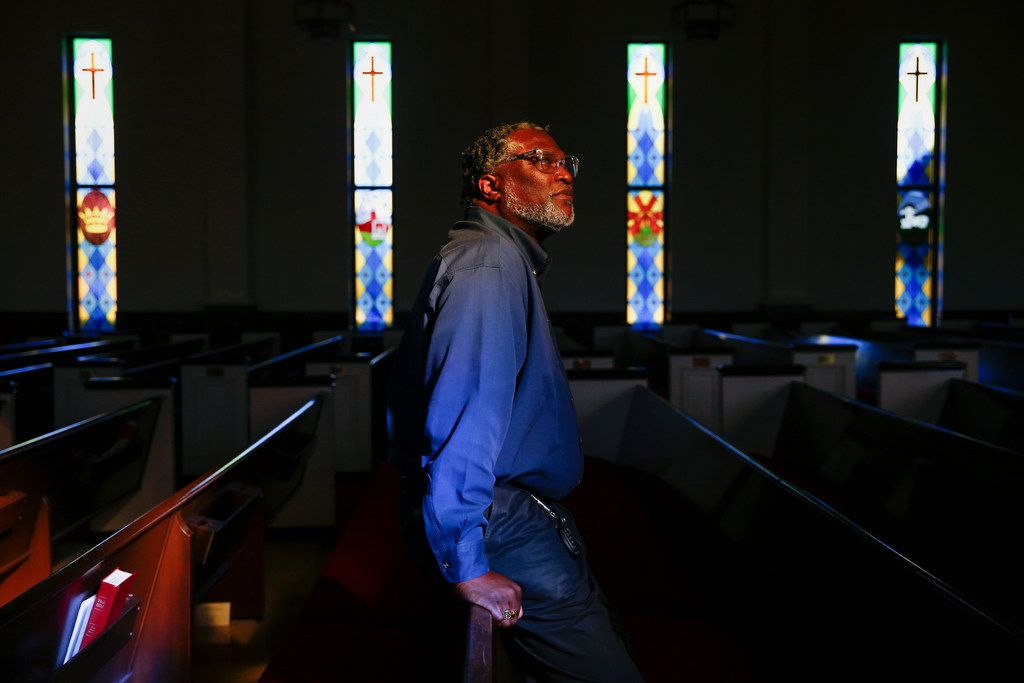 Reverend Horace Bradshaw, a longtime South Oak Cliff resident,  poses for a photograph  Sept. 4 at Good Street Baptist Church in Dallas. Bradshaw's nephew, Alcides Maurice Scott, 42, was fatally stabbed earlier this summer. (Ryan Michalesko/The Dallas Morning News)