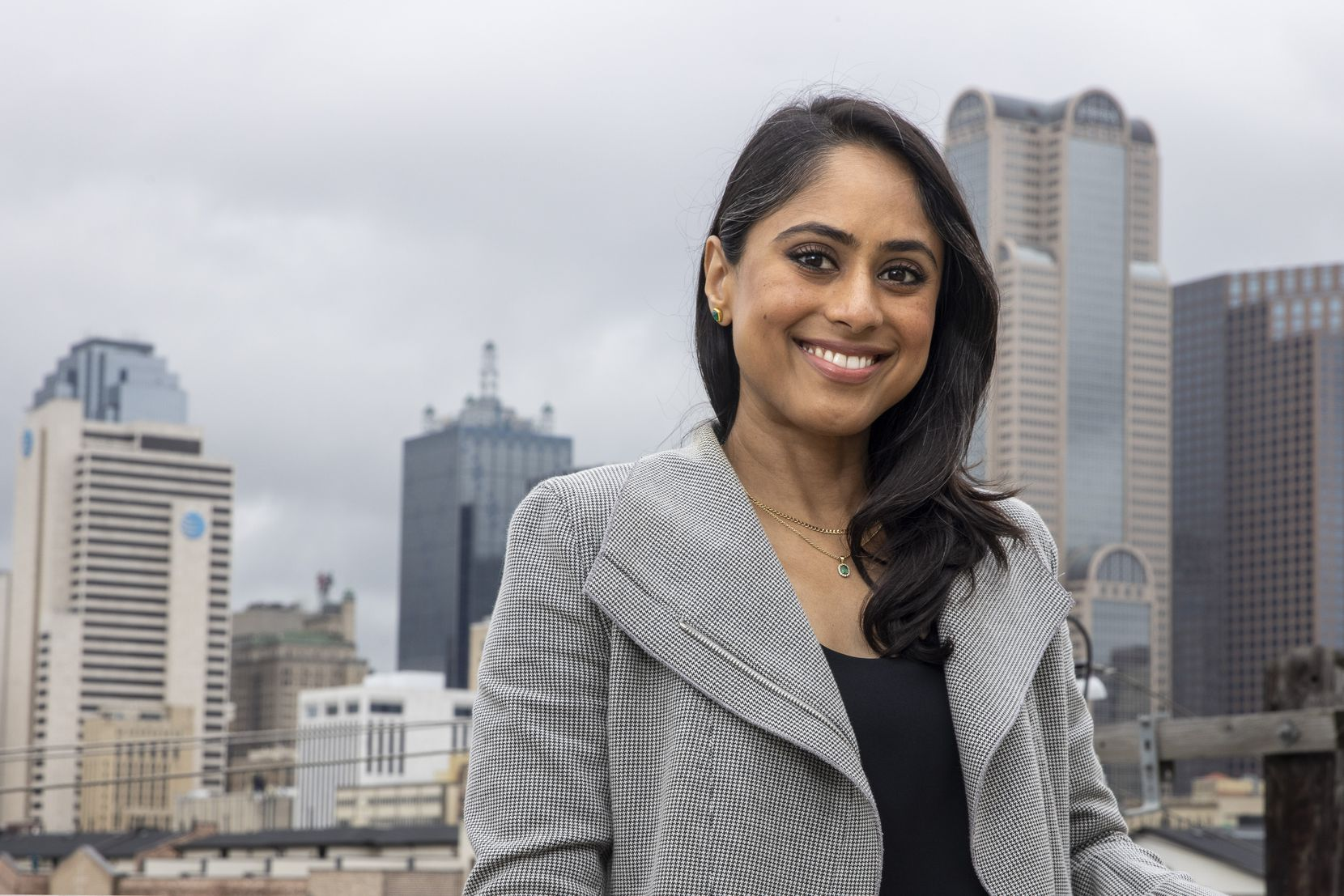 Dallas City Council District 2 candidate Sana Syed posed for a portrait at her home in downtown Dallas on Friday, May 21, 2021. Syed is one of two candidates running to represent parts of downtown and North and East Dallas in the June 5 runoff. (Lynda M. González/The Dallas Morning News)