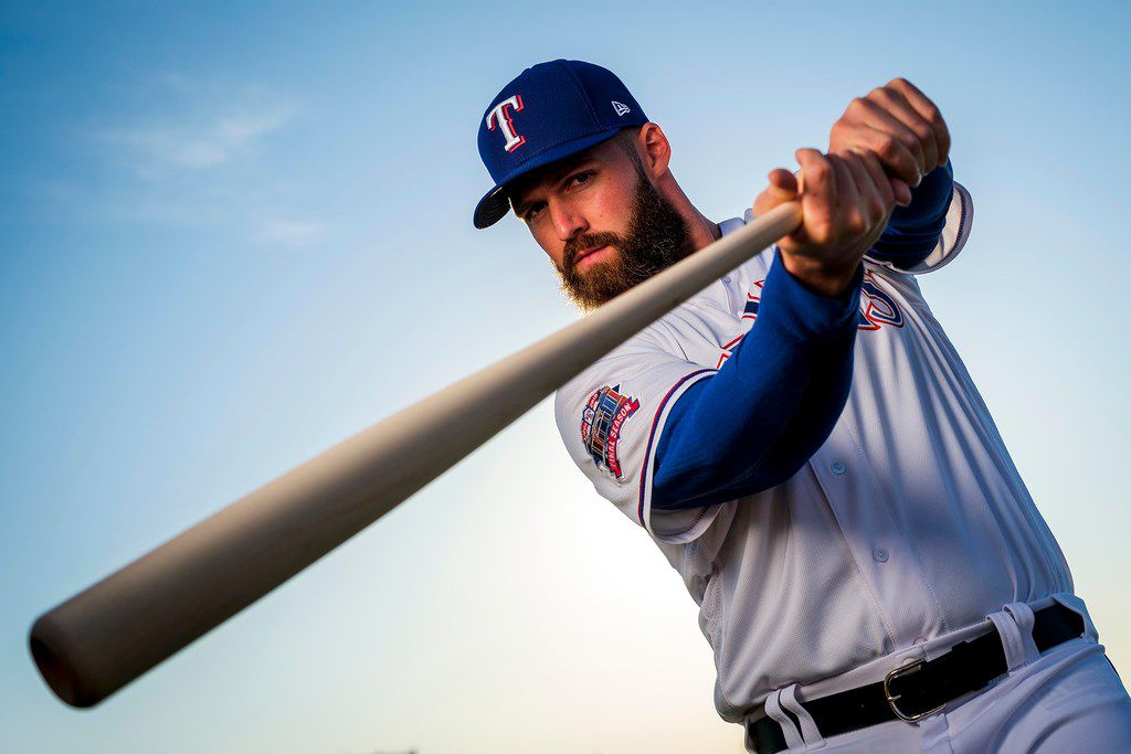 Texas Rangers infielder Matt Davidson poses for a photograph during spring training photo day at the team's training facility on Wednesday, Feb. 20, 2019, in Surprise, Ariz.. (Smiley N. Pool/The Dallas Morning News)