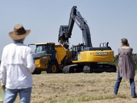 The first scoop of dirt was dumped in a truck following the Upper Trinity Regional Water District groundbreaking ceremony for Lake Ralph Hall and Leon Horse Dam near Ladonia, Texas, Wednesday, June 16, 2021. The lake will provide 54 million gallons of water per day for some 29 communities in Denton and Collin counties. The $490 million project should begin delivering water by 2025.The lake is named after Hall who was a United States Representative for Texas's 4th congressional district.