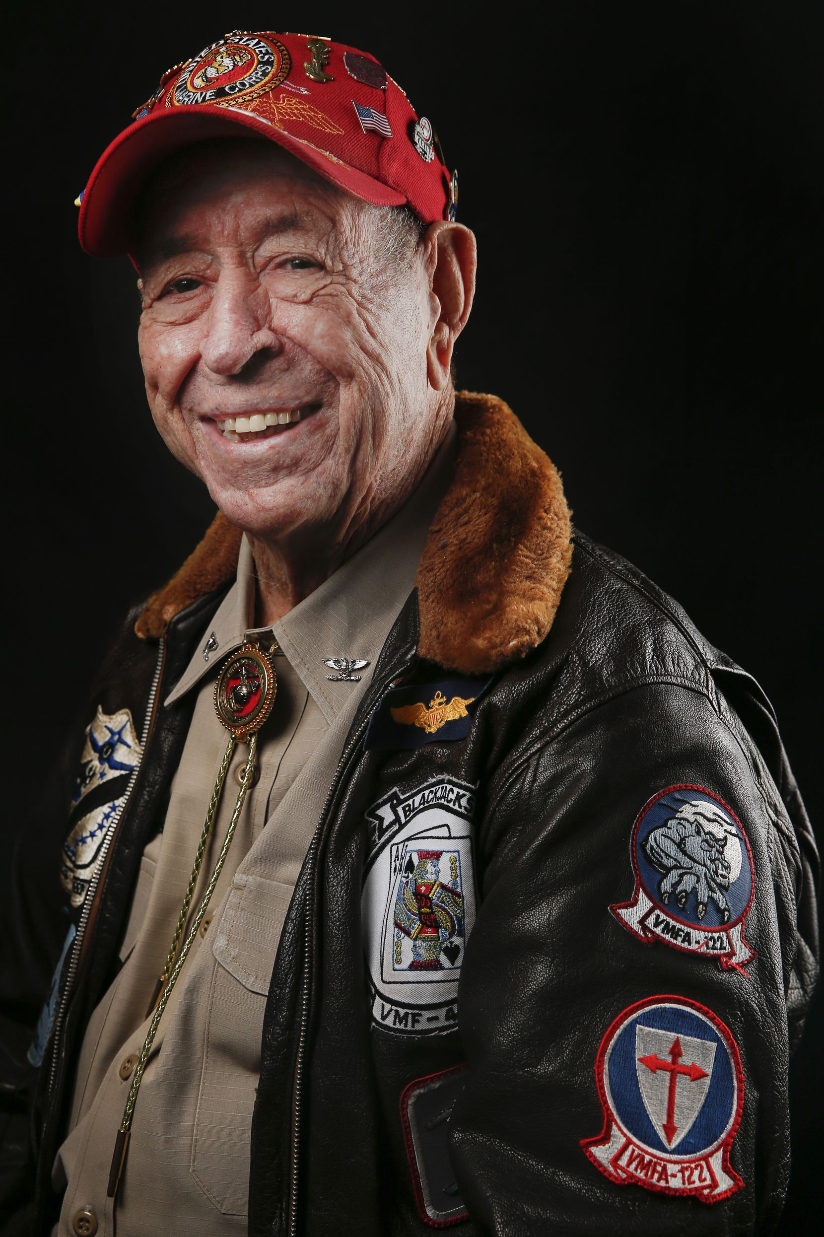 Joe McPhail, 98, of Houston, a colonel who served as a fighter pilot in the Marines' World War II VMF-323 Death Rattlers, is photographed during the Wings Over Dallas Airshow on Saturday, Oct. 26, 2019 in Dallas.