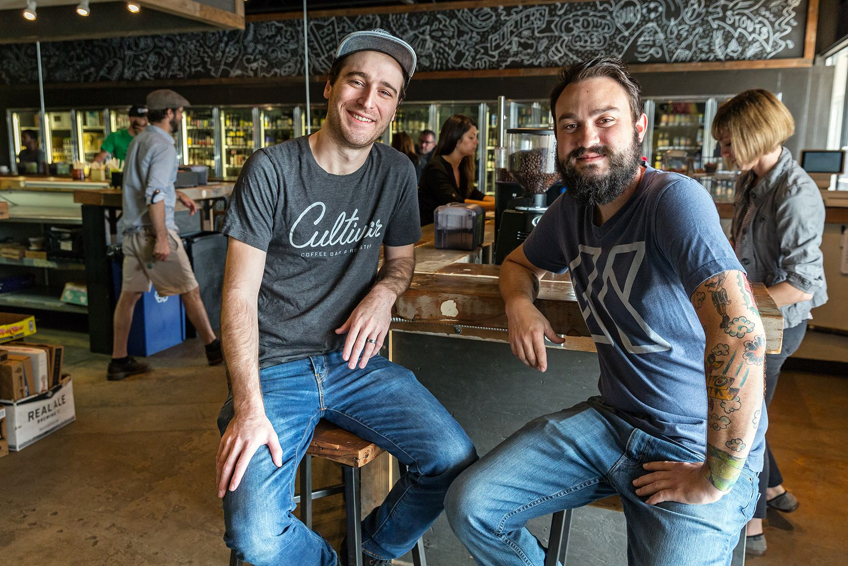 Nathan Shelton (left), 28, and Jonathan Meadows (right), 27, co-founders of Cultivar Coffee Bar and Roaster
